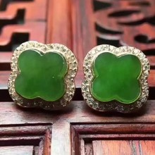 natural green jasper stud earrings s925 silver Natural gemstone earring women happy beautiful Clover stud earrings for party