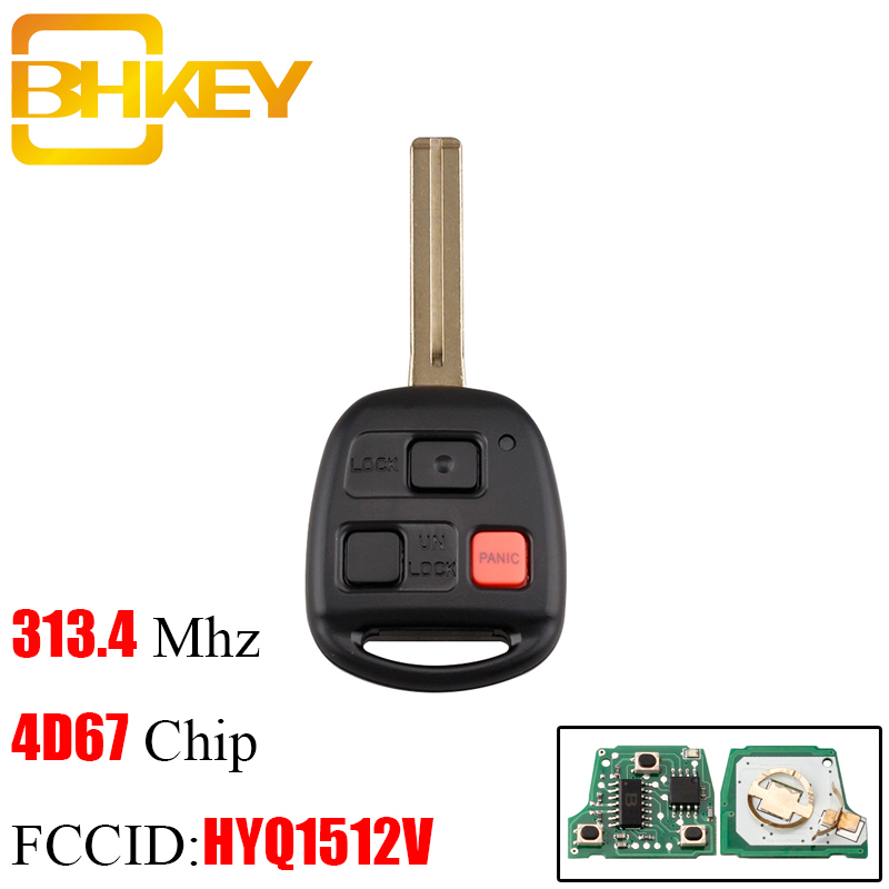 BHEKY 3 Button 314.4mhz Keyless Entry Remote Key Fob 4D67 Chip For Lexus GX470 LX470