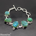 HERMOSA Jewelry Unique 925 sterling silver natural druse made fine bracelet  8'' HF225
