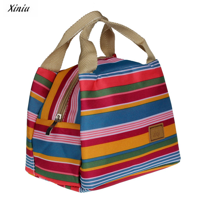 Lunch Bag Insulated Tote Cooler Zipper Bag Thermal Bag Pouch rainbpw color striped Picnic Bags cooler lancheira #yl123 striped tote lunch bag