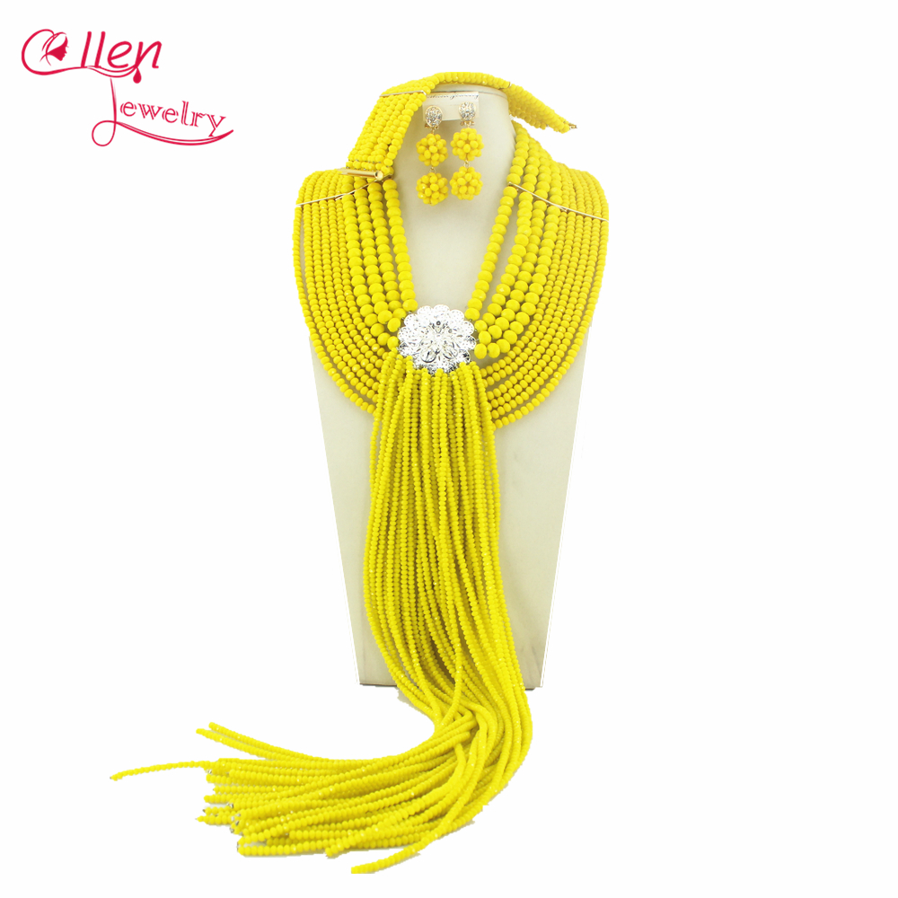 Fashionable Yellow African Nigerian Beads Jewelry Set African Jewelry Sets For Bridal 2014 New Free Shipping W6502 new sky blue fashion natural stone fashionable african beads jewelry sets jewelry for women free shipping jb123