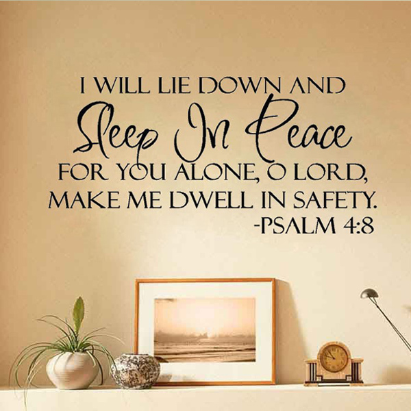 Sleep In Peace Bible Verse Wall Stickers Quote Lettering