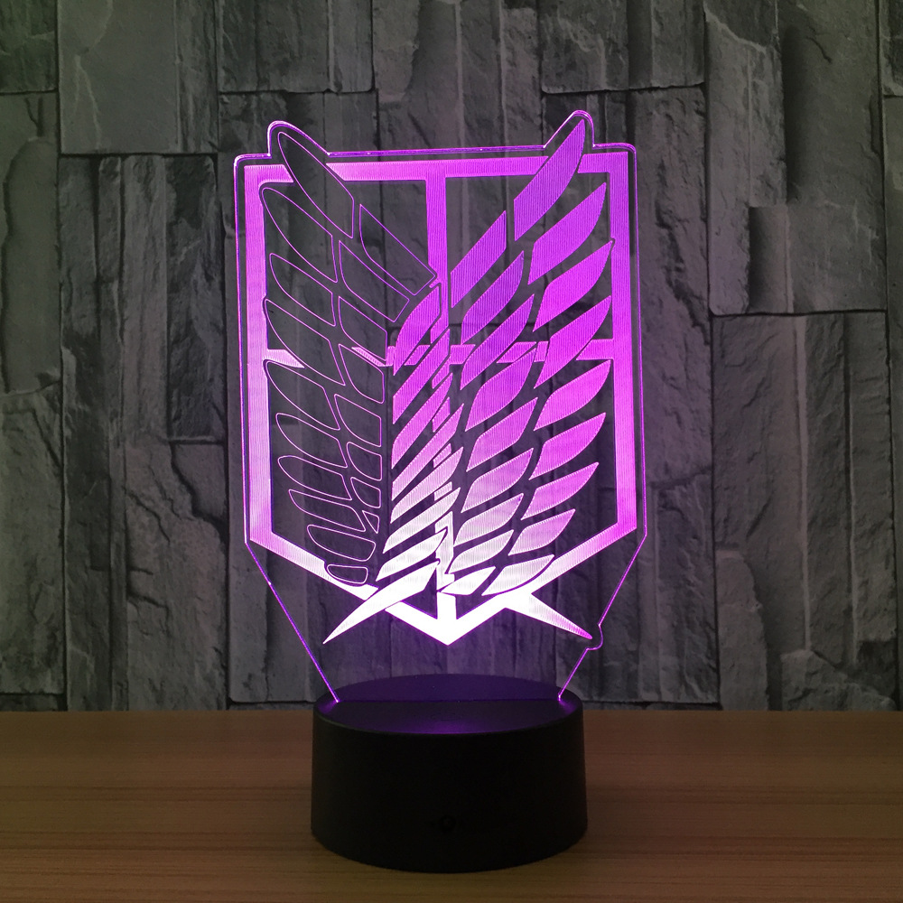 Attack on Titan Badge 3D LED Nightlight Color Changing Home Decor Table Lamp Novelty 3D Visual Night Light for Child Gift color changing dolphin shape 3d visual led night light