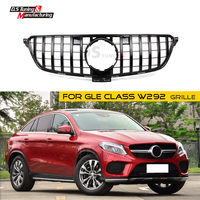 GLE W292 GT Racing Grille for Mercedes GLE Class Coupe ABS material Mesh Grill 2016 2017 2018 C292 Silver/Black Color