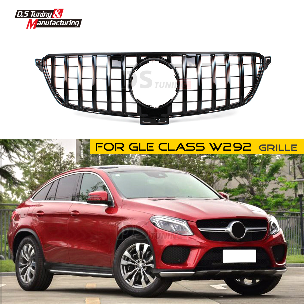 GLE W292 GT Racing Grille for Mercedes GLE Class Coupe ABS material Mesh Grill 2016 2017 2018 C292 Silver/Black Color image