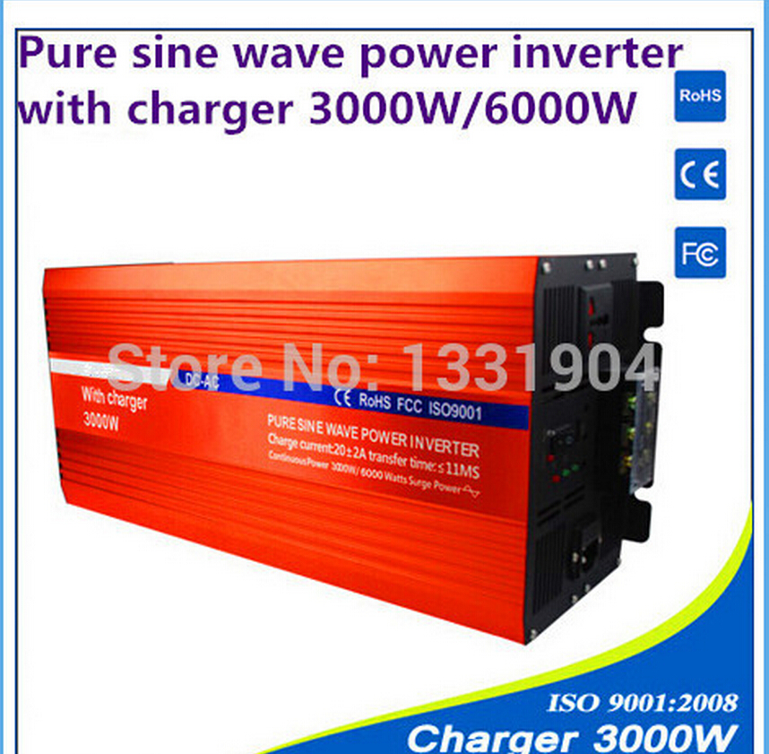 24V to 220V 3000W Pure Sine Wave Power Inverter With Buildin Charger with Automatic Transfer for solar inverter, car inverter gb4045d to 220