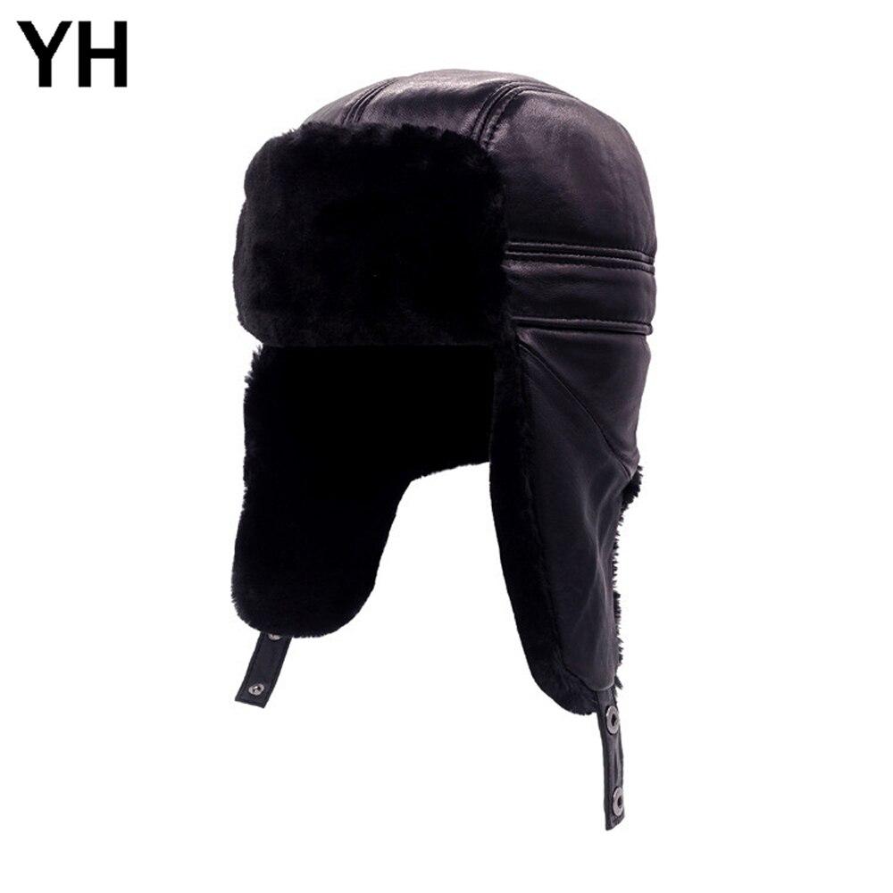 Bomber Hats Natural Real Winter Men Protect Ears Real-Sheepskin