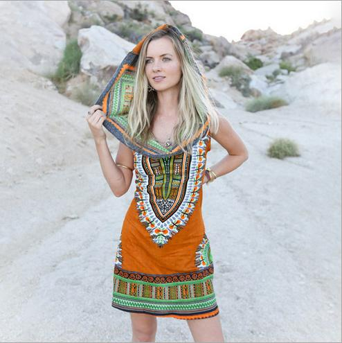 6a6d5d1e7b1 Double Luck Boho Gypsy Tribal Hooded Tunic Dress Women Traditional African  Print Dashiki Dresses Bohemian Beach Casual Sundres