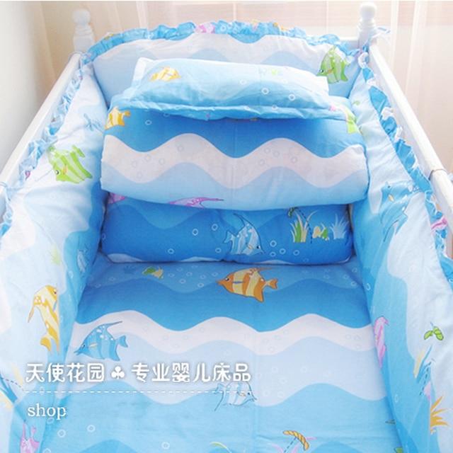 Washable Blue Sea Animal Baby Bedding Set, Detachable Baby Quilt Bedding Crib Set, Bumper Baby Sets Baby Bedding, 120*70cm