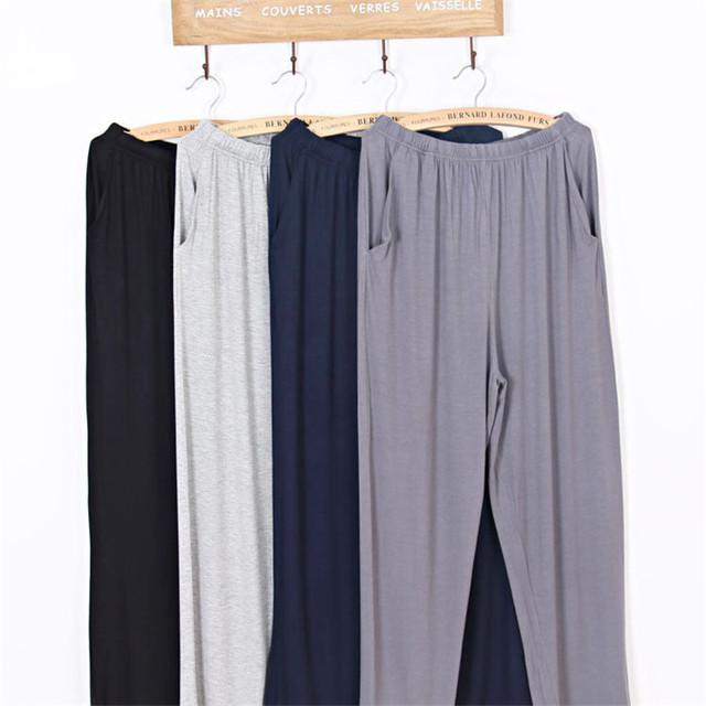 a9c875d0d Spring Male Sleep Pants Pyjama Lounge Men Casual Solid Modal Sleeping  Bottoms Navy Grey Black Sleepwear