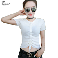 c4d8a9f65a Summer T Shirts Women Short Sleeve Knitted Sweater Tops White Black Purple V  Neck Tie Short