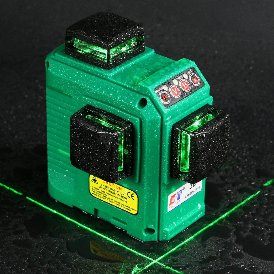 цена Kaitian Laser Level Green 12 Lines Nivel Laser 3D 360 Rotary Line Receiver Function Construction Tools Tripod for Level Lazer 3D