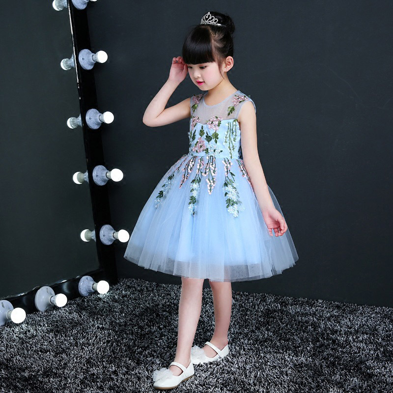 Sleeveless Elegant Girls Flowers Formal Dress Kids Party Wedding Birthday Party Ball Gown Dresses Girls Pageant Mesh Dress E142 цены онлайн