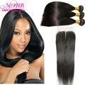 Grátis Silky envio hetero brasileiro virgem cabelo Weave Bundle com 3 maneira parte Lace encerramento preto Natural cabelo humano direto