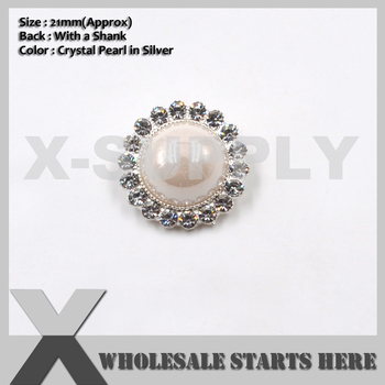 21mm Round Silver Pearl Crystal Rhinestone Buttons,Used for Wedding Invitation,Brooch Bouquet,Flower Centers,Sewing