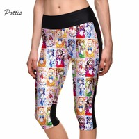 Pottis Capri Space DIgital Beauty Girl Cartoon Printing Sexy Woemn S Leggings High Waist 7 Points