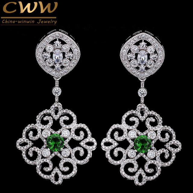 Cwwzircons 2018 New Arrival Vintage Cubic Zirconia Long Drop Bridal Wedding Earrings With Green Stones
