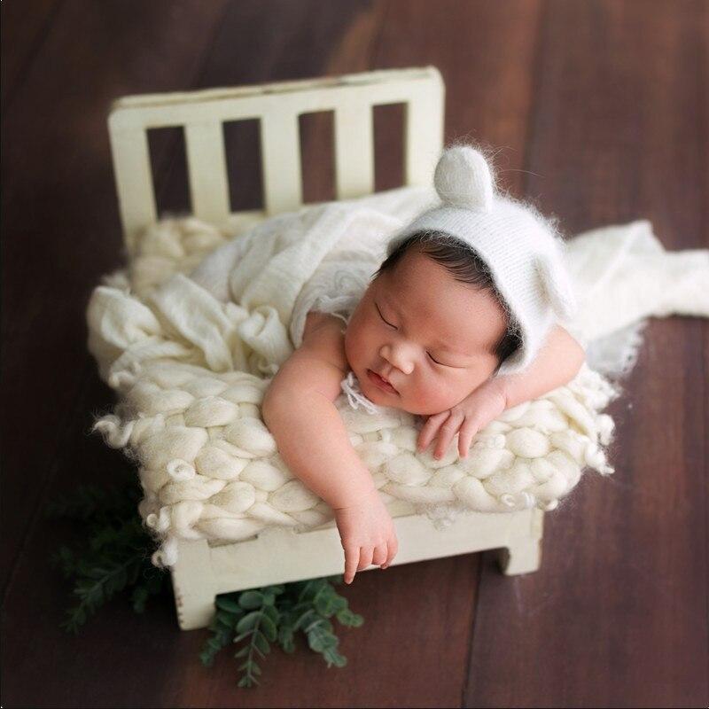 Nouveau-né accessoires pour la photographie bois amovible lit bébé photographie arrière-plan accessoires Flokati nouveau-né Studio accessoires pour tournage - 5