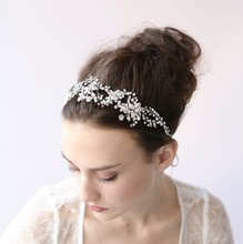 Jonnafe New Gold Silver Crysral Tiara Wedding Hair Accessories Headbands Handmade Bridal Headband Women Hair Jewelry Headwear