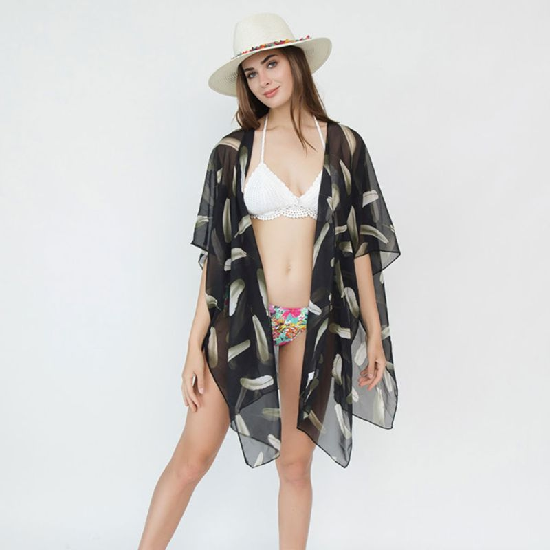 Cheap Sale Women Summer Travel Half Sleeves Swimsuit Cover Up Boho Ink Painting Feather Patterns Printed Kimono Cardigan Sun Protection A Wide Selection Of Colours And Designs