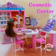 цены на For Barbie Doll Furniture Accessories Toy Cosmetic Center Display Cabinet Dressing Table Chair Mirror Lamp Shop Gift Girl DIY  в интернет-магазинах