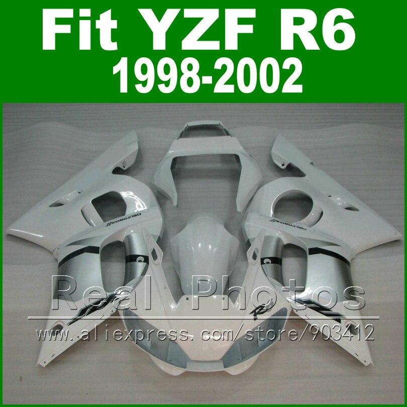 Free Custom Plastic parts for YAMAHA R6 fairing kit 1998 1999 2000 2001 2002 silvery YZF R6 fairings 98-02 bodywork