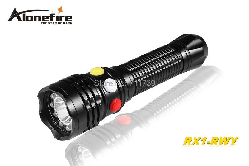 AloneFire RX1-RWY CREE Q5 LED Red White Green light Multi-function railway signal lamp flashlight torch light For 3xAAA or 18650 multi function green