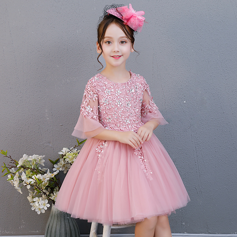 Girls Sweet Pink Lace Princess Half Sleeves Dress Kids Clothes Christmas Birthday Wedding Dress Tutu Dresses For Girls Costume green crew neck roll half sleeves mini dress