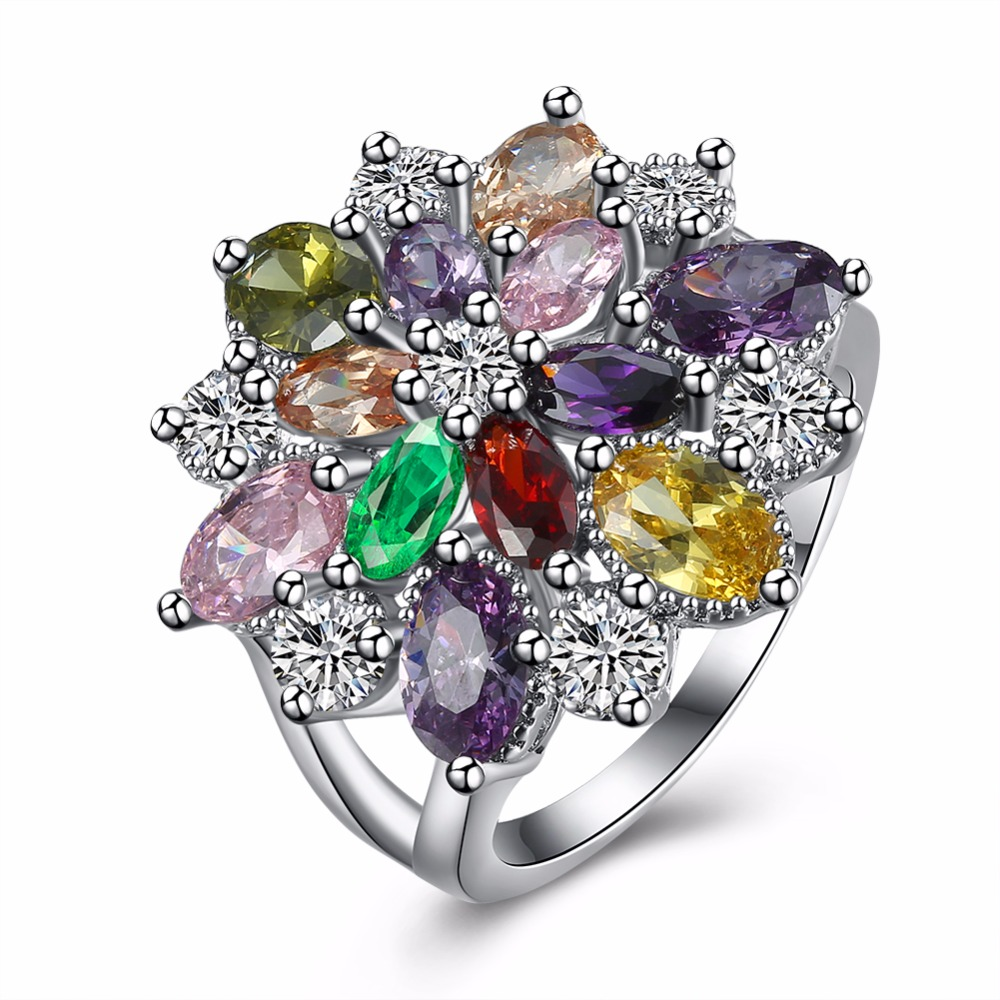 Unique Fashion Multicolor Flower Engagement Rings 18kgp White Gold Colour  Aaa Zircon Fashion Jewelry Anillos(