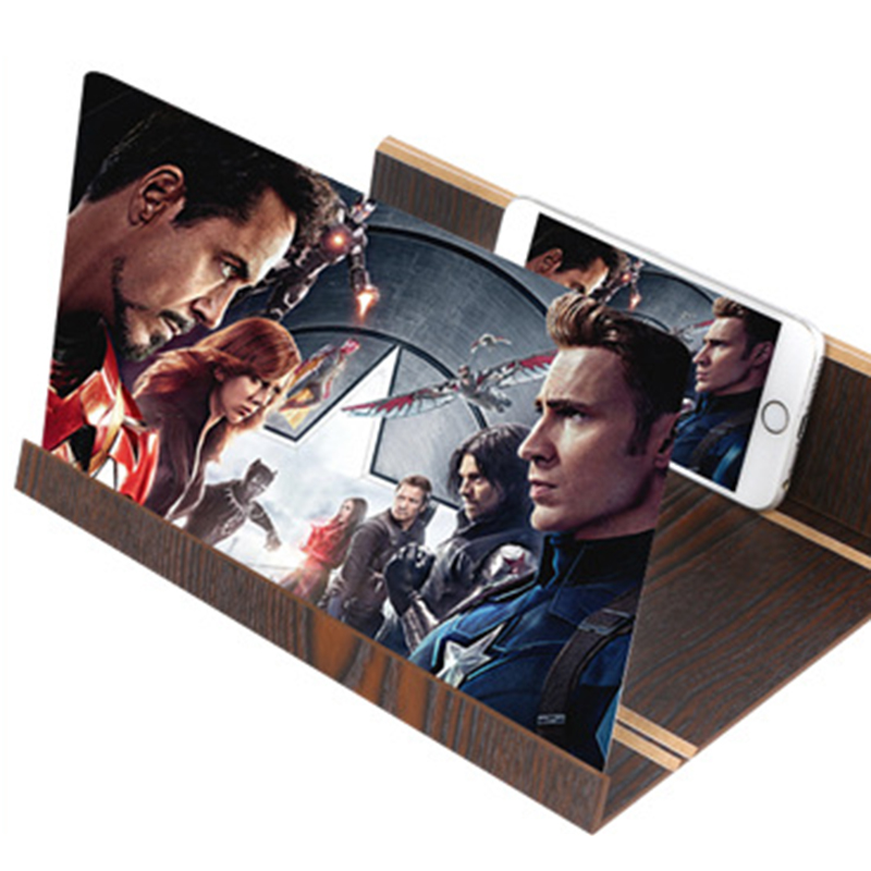 Valentine's Gifts Stereoscopic Amplifying 12'' Desktop Wood Bracket Tablet Phone Video Screen Magnifier Amplifier Holder Mount