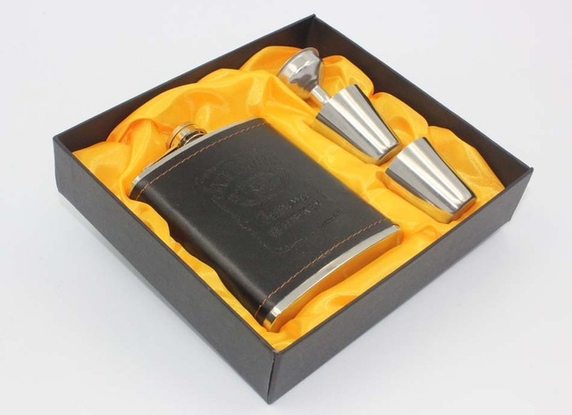 Luxury JD Hip Flask 7oz set Portable Stainless Steel Flagon Wine Bottle Gift Box Pocket Flask Russian Flagon