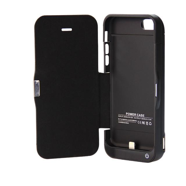 Gagaking funda protectora caja de la batería para iphone 5 5s 5c se con la cubierta del tirón del cuero caja del teléfono 4200 mah caso del cargador de Energía 4in1
