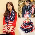 Drop Shipping Hot Sale Beauty Chiffon Printing American Flag Scarf Wraps Fashion Accessories