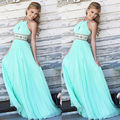 New sexy 3 cores do verão das mulheres vestidos de festa à noite vestido de baile de casamento prom halter vestido de praia ocasional longo maxi dress