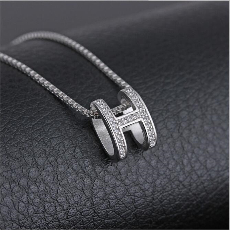 925 Sterling Silver Zircon Does Not Fade H Letter Necklace Female Japan  Korea Clavicle Chain Simple