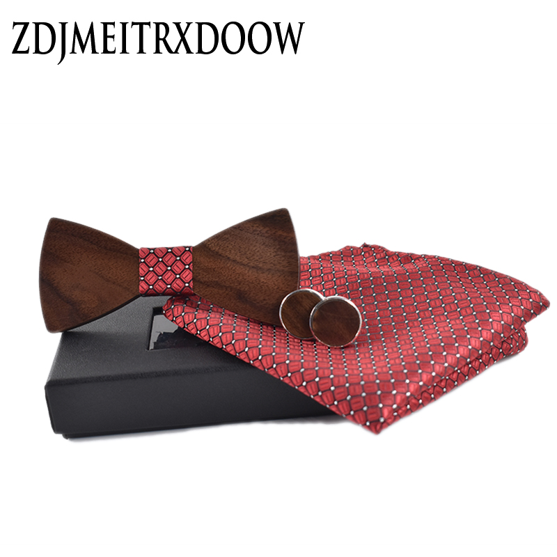 2018 New Fashion Wedding Bow Wooden Bow Tie Cufflinks Kerchief Preferential Suit  Tie Gravata Suits Shirts Wooden Ties Set