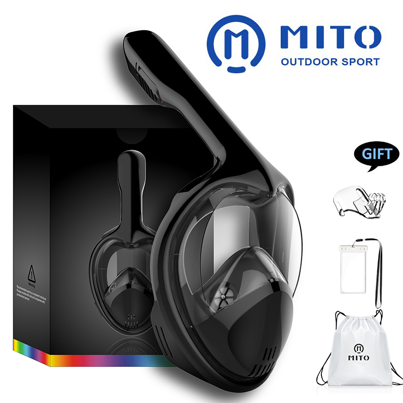 2019 MITO Diving Mask Scuba Mask Underwater Full Face Snorkeling Mask Anti Fog Panoramic Swimming Snorkel Diving Equipment GoPro