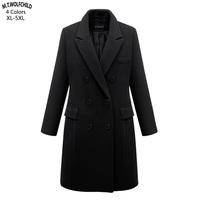 Fashion 2018 Autumn Winter Lady elegant Double breasted woolen trench coats casual womens coats Plus size 5XL womens clothing