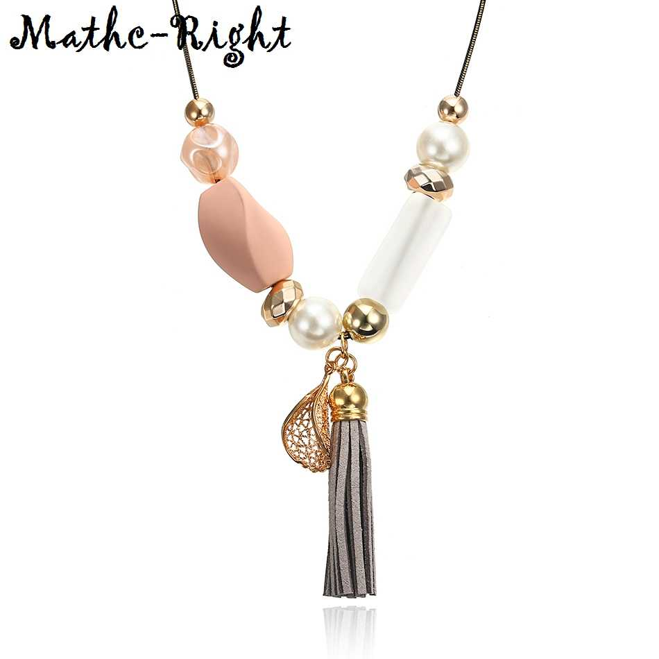 Women's Acrylic Beads Necklace with Simulated Pearl for Women Tassel Necklaces & Pendants New Fashion Jewelry for Gifts NR053