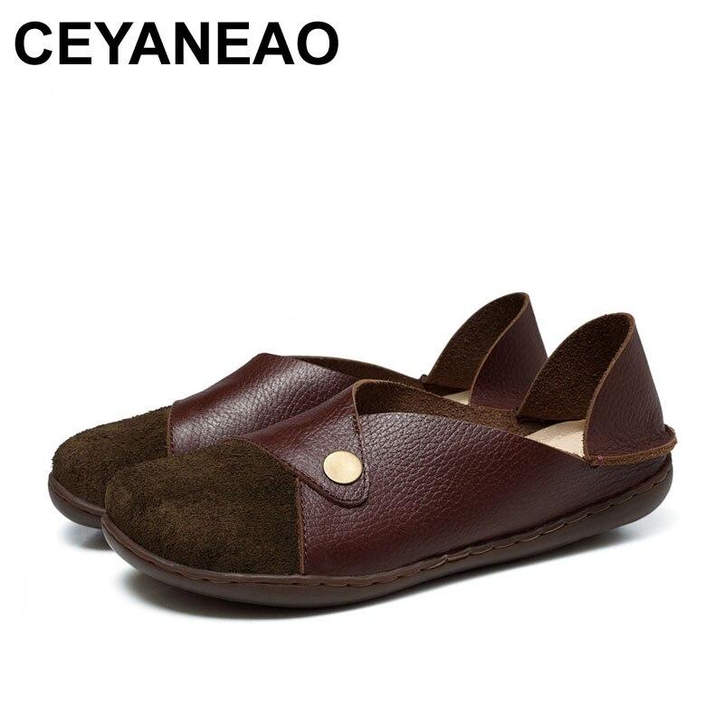 Ceyaneao 2018 Neue Frauen Schuhe Aus Echtem Leder Wohnungen Sommer Mode-design 2053 Elegante Form