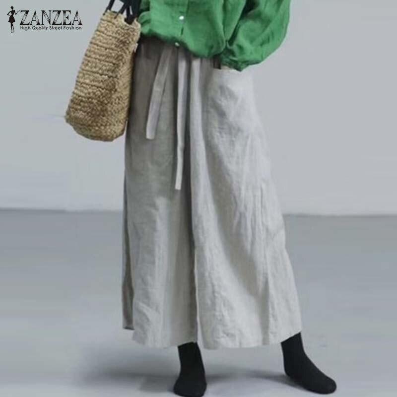 Fashion Women   Wide     Leg     Pants   Casual Cotton Linen Trousers ZANZEA Elastic Waist Harem   Pants   Loose Solid Flare Pantalon Femme Robe