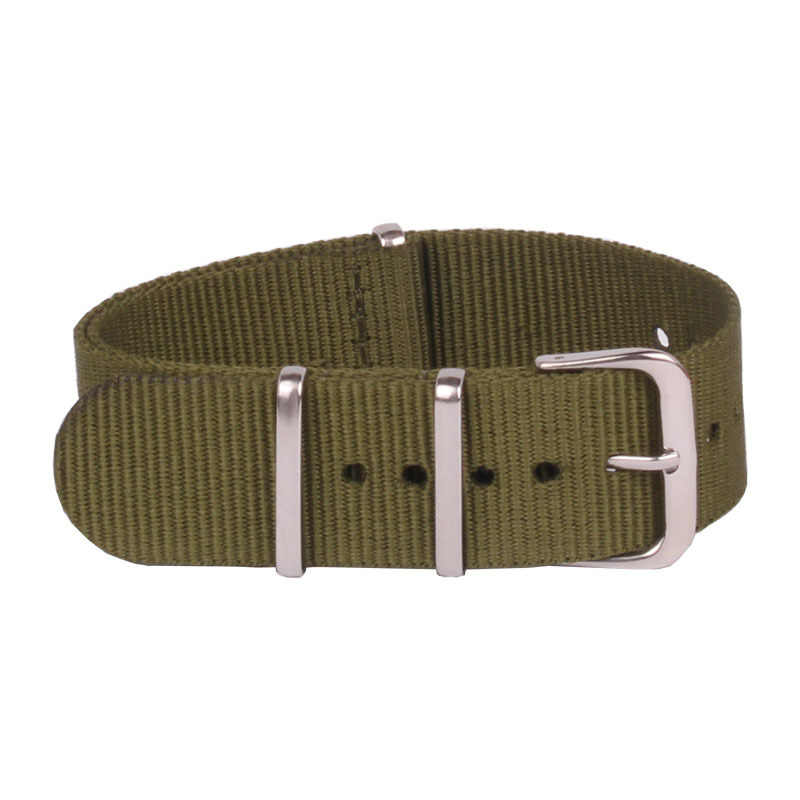 """שעון קלאסי רטרו 18 מ""""מ צמיד צבאי ירוק צבא בד ארוג רצועת השעון ניילון נאט""""ו להקת רצועת אבזם חגורת 18 מ""""מ"""