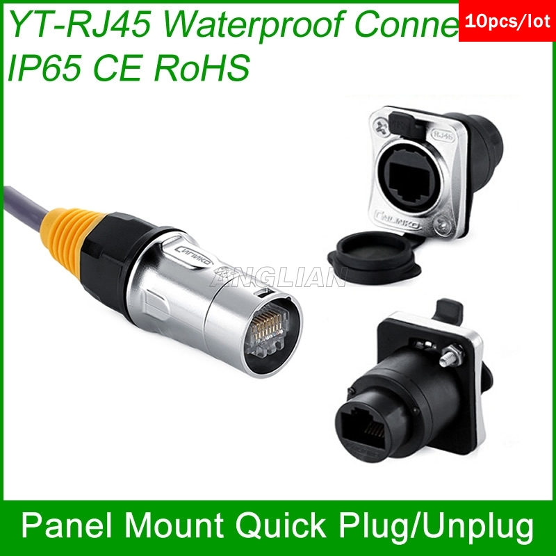 RJ45 plug socket screw type CAT5E waterproof connector panel mount ethernet PCB Network connector Cnlinko Good