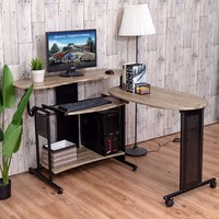 Goplus Expandable Computer Desk L Shaped PC Laptop Table Corner Workstation Home Officem Modern Wood Standing