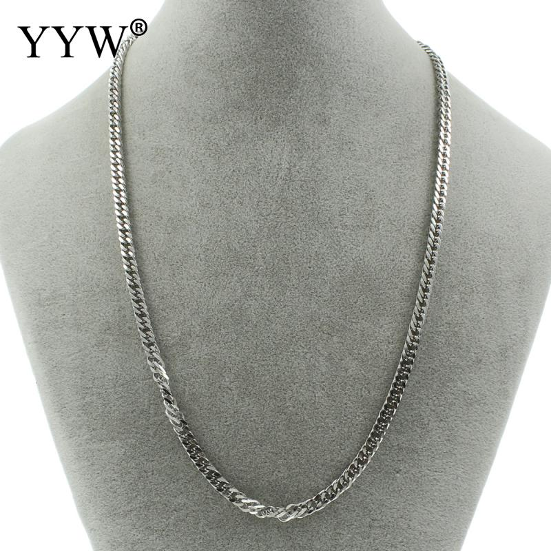 19.5 Inch Silver-Color Plated Stainless Steel Chain Women Men Curb Chain Stainless Steel Necklace Chain For Men Women Gift