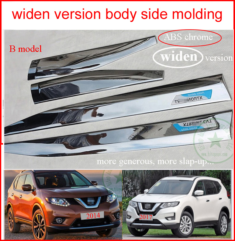 for Nissan X-trail Rogue body side door molding moulding 2014 2015 2016 2017 2018,door decoration,ABS chrome or stainless steel high quality abs chrome body side moldings side door decoration for 2011 2013 compass