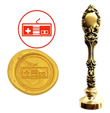 Game Console Button Vintage Custom Picture Logo Luxury Wax Seal Sealing Stamp Brass Peacock Metal Handle Gift Set