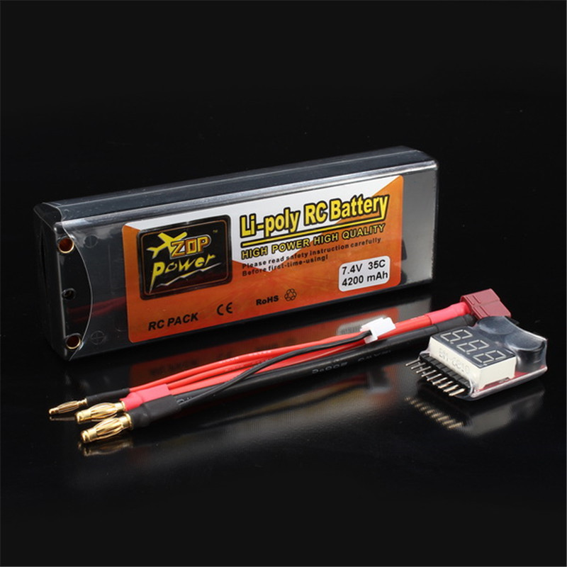 Rechargeable Lipo Battery ZOP Power 7.4V 4200mAh 2S 35C Lipo Battery T Plug With Battery Alarm