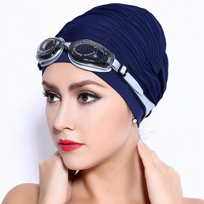Hat Beanie Swimming-Caps Long-Hair Lycra Bathing-Hats Adult Women for Pleated-Cloth-Fabric