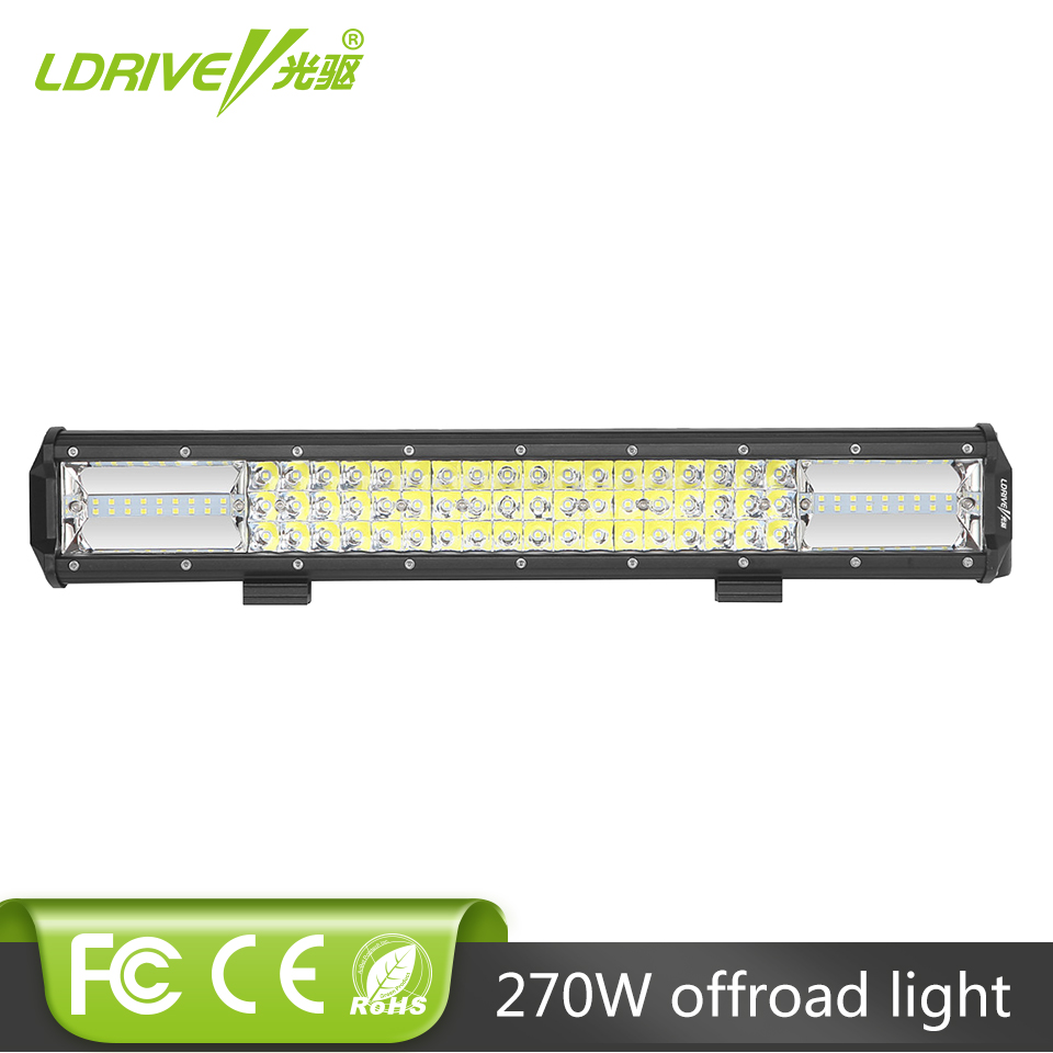 LDRIVE 20 Inch 270W CREE Chips LED Light Bar 3-Row Offroad Light Bar Car 12V 24V RZR Truck ATV UTV Boat 4WD Tractor 4X4 Fog Lamp auxbeam 44 576w cree chip led head light bar 6000k offroad work light for atv utv suv rzr pickup boat car driving led bar 3 row